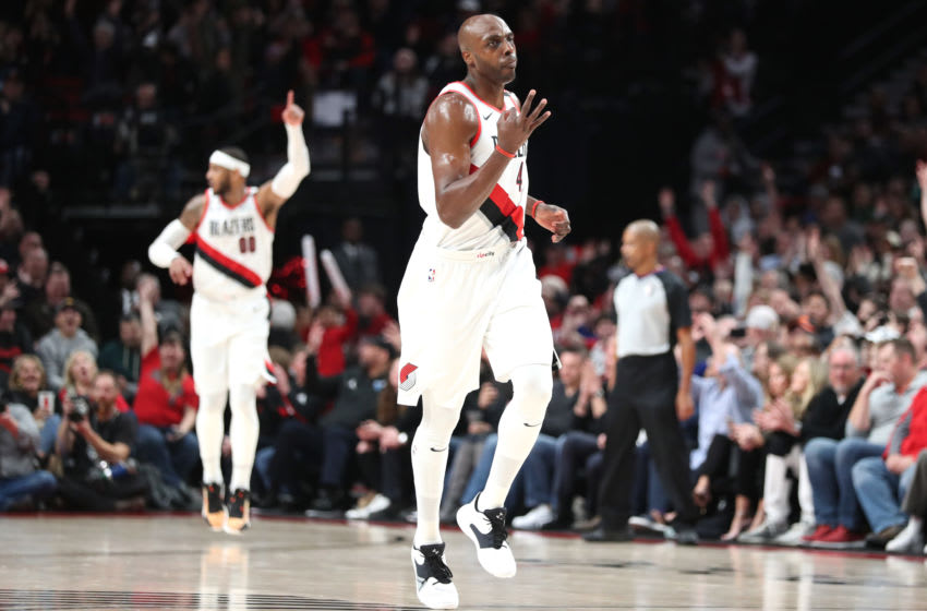 PORTLAND, OREGON - JANUARY 13: Anthony Tolliver #43 of the Portland Trail Blazers celebrates after making a three-point basket late in the fourth quarter against the Charlotte Hornets at Moda Center on January 13, 2020 in Portland, Oregon. (Photo by Abbie Parr/Getty Images)