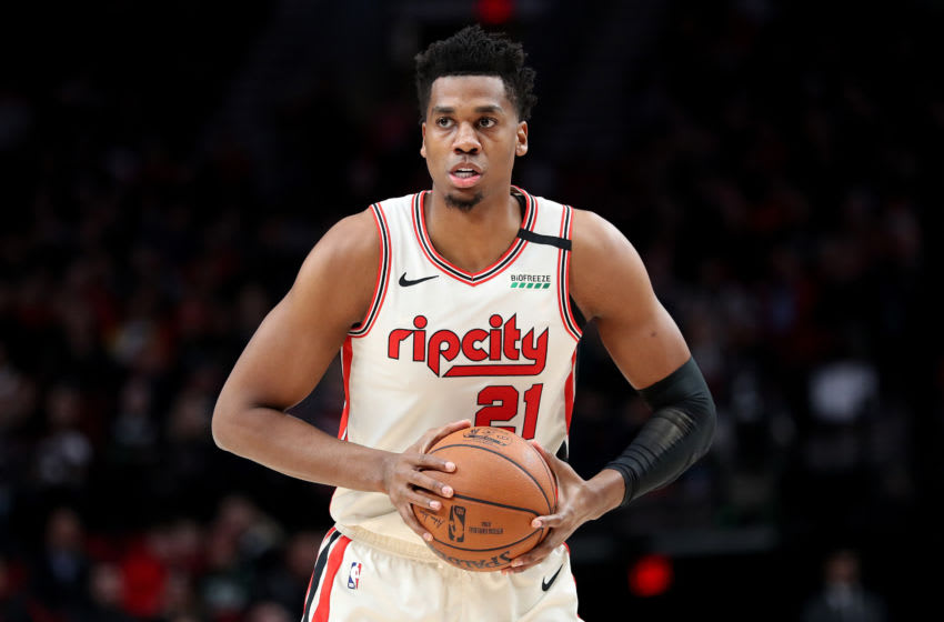 PORTLAND, OREGON - JANUARY 23: Hassan Whiteside #21 of the Portland Trail Blazers handles the ball in the first quarter against the Dallas Mavericks during their game at Moda Center on January 23, 2020 in Portland, Oregon. NOTE TO USER: User expressly acknowledges and agrees that, by downloading and or using this photograph, User is consenting to the terms and conditions of the Getty Images License Agreement (Photo by Abbie Parr/Getty Images)