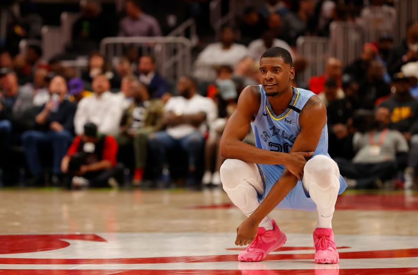 ATLANTA, GEORGIA - MARCH 02: Josh Jackson #20 of the Memphis Grizzlies looks on during a free throw by Gorgui Dieng #14 in the second half against the Atlanta Hawks at State Farm Arena on March 02, 2020 in Atlanta, Georgia. NOTE TO USER: User expressly acknowledges and agrees that, by downloading and/or using this photograph, user is consenting to the terms and conditions of the Getty Images License Agreement. (Photo by Kevin C. Cox/Getty Images)