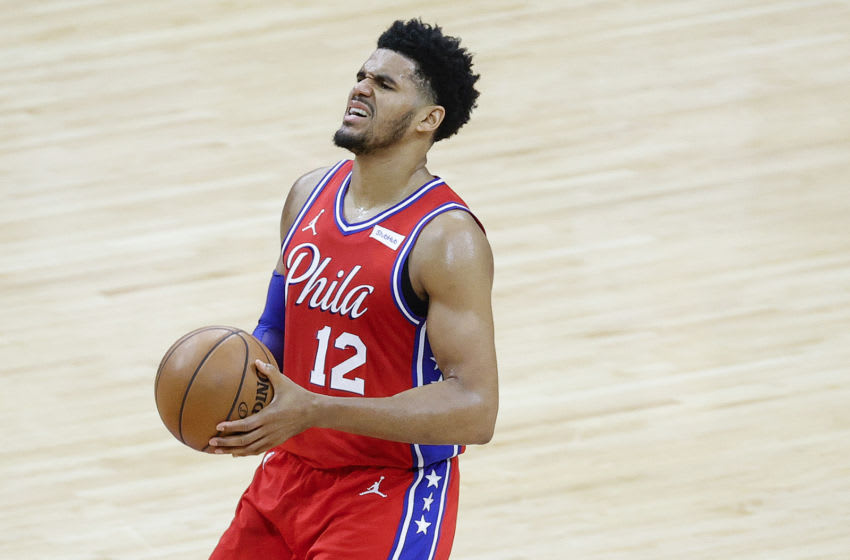 PHILADELPHIA, PENNSYLVANIA - JUNE 06: Tobias Harris #12 of the Philadelphia 76ers reacts during the second quarter against the Atlanta Hawks during Game One of the Eastern Conference second round series at Wells Fargo Center on June 06, 2021 in Philadelphia, Pennsylvania. NOTE TO USER: User expressly acknowledges and agrees that, by downloading and or using this photograph, User is consenting to the terms and conditions of the Getty Images License Agreement. (Photo by Tim Nwachukwu/Getty Images)