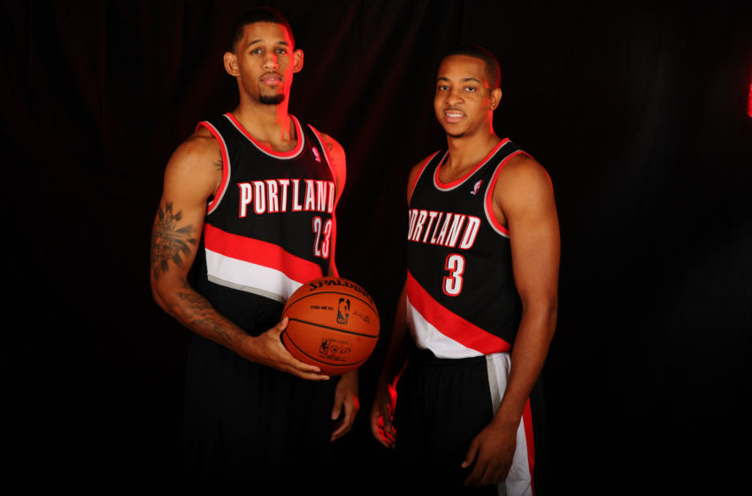 TARRYTOWN, NY - AUGUST 6: CJ McCollum #3 and Allen Crabbe #23 of the Portland Trail Blazers poses for a portrait during the 2013 NBA rookie photo shoot on August 6, 2013 at the Madison Square Garden Training Facility in Tarrytown, New York. NOTE TO USER: User expressly acknowledges and agrees that, by downloading and or using this photograph, User is consenting to the terms and conditions of the Getty Images License Agreement. Mandatory Copyright Notice: Copyright 2013 NBAE (Photo by Brian Babineau/NBAE via Getty Images)