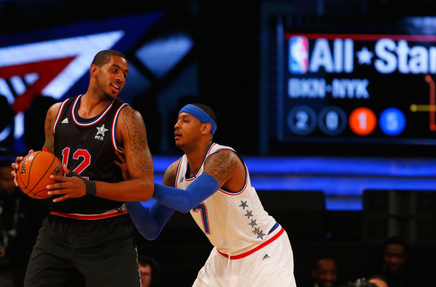 LaMarcus Aldridge, Carmelo Anthony, All-Star Game, Portland Trail Blazers (Photo by Jim McIsaac/Getty Images)