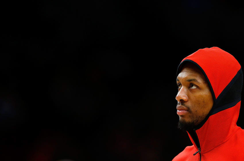 PORTLAND, OR - APRIL 01: Damian Lillard #0 of the Portland Trail Blazers during pregame against the Memphis Grizzlies at Moda Center on April 1, 2018 in Portland, Oregon.NOTE TO USER: User expressly acknowledges and agrees that, by downloading and or using this photograph, User is consenting to the terms and conditions of the Getty Images License Agreement. (Photo by Jonathan Ferrey/Getty Images)