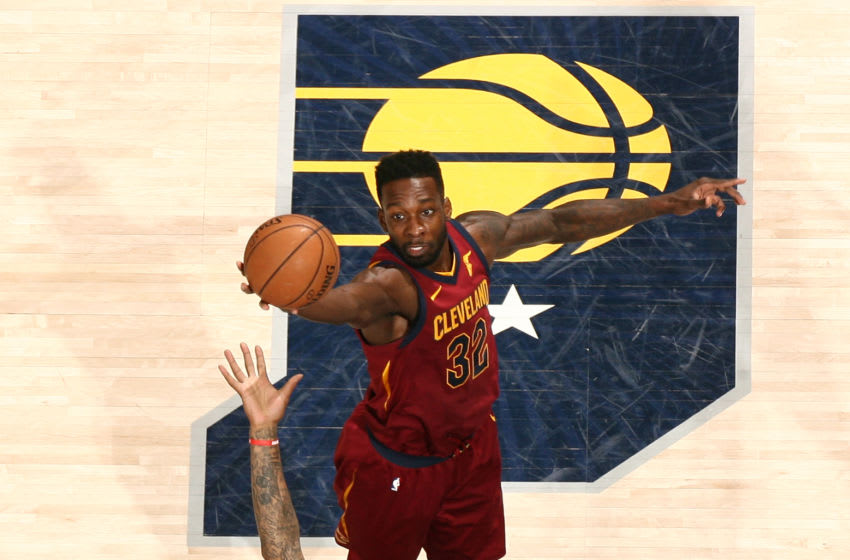 INDIANAPOLIS, IN - APRIL 22: Jeff Green #32 and JR Smith #5 of the Cleveland Cavaliers jump for the rebound against the Indiana Pacers in Game Four of Round One of the 2018 NBA Playoffs on April 22, 2018 at Bankers Life Fieldhouse in Indianapolis, Indiana. NOTE TO USER: User expressly acknowledges and agrees that, by downloading and or using this Photograph, user is consenting to the terms and conditions of the Getty Images License Agreement. Mandatory Copyright Notice: Copyright 2018 NBAE (Photo by Nathaniel S. Butler/NBAE via Getty Images)
