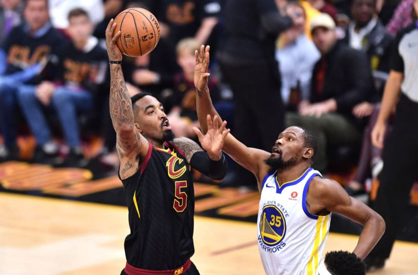 CLEVELAND, OH - JUNE 06: JR Smith #5 of the Cleveland Cavaliers attempts a layup over Kevin Durant #35 of the Golden State Warriors in the first quarter during Game Three of the 2018 NBA Finals at Quicken Loans Arena on June 6, 2018 in Cleveland, Ohio. NOTE TO USER: User expressly acknowledges and agrees that, by downloading and or using this photograph, User is consenting to the terms and conditions of the Getty Images License Agreement. (Photo by Jamie Sabau/Getty Images)