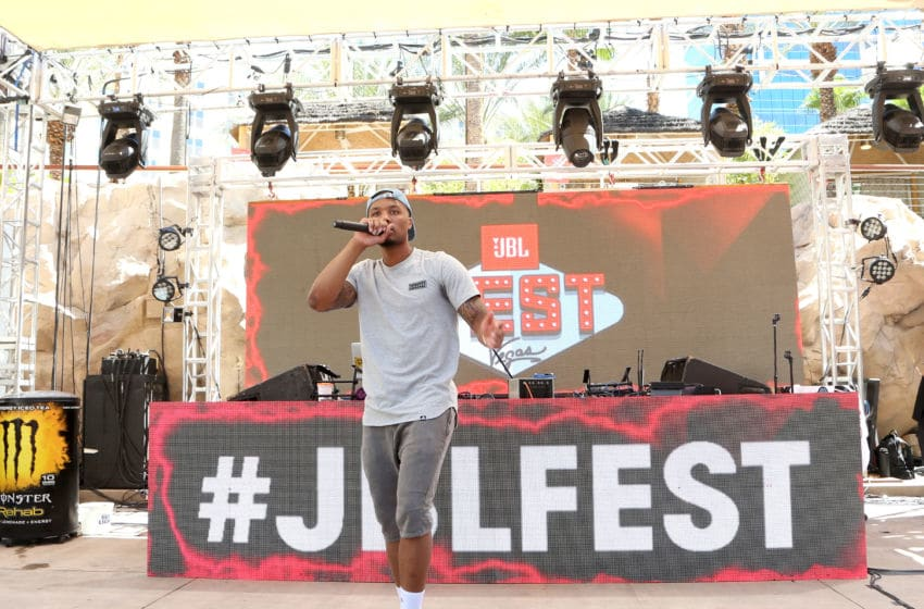 LAS VEGAS, NV - JULY 28: NBA player Damian Lillard performs at JBL Poolside, one of the many events a part of JBL Fest, an exclusive, three-day music experience hosted by JBL at the Hard Rock Hotel