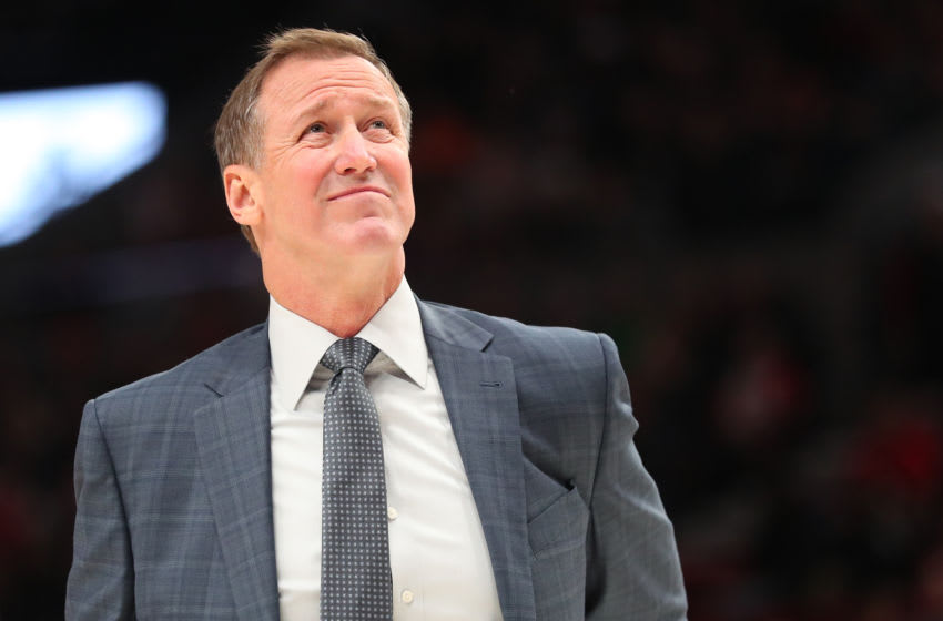 PORTLAND, OREGON - FEBRUARY 23: Head Coach Terry Stotts of the Portland Trail Blazers reacts in the fourth quarter against the Detroit Pistons during their game at Moda Center on February 23, 2020 in Portland, Oregon. NOTE TO USER: User expressly acknowledges and agrees that, by downloading and or using this photograph, User is consenting to the terms and conditions of the Getty Images License Agreement. (Photo by Abbie Parr/Getty Images)