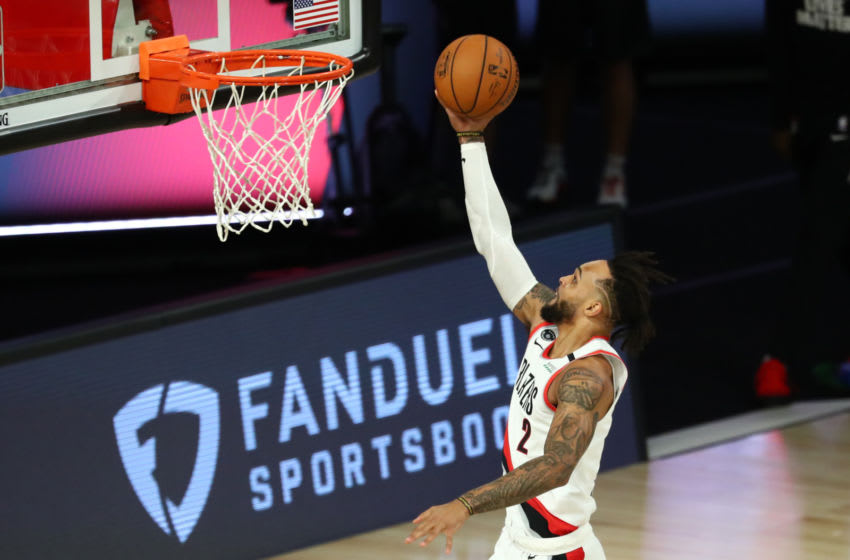 LAKE BUENA VISTA, FLORIDA - AUGUST 08: Portland Trail Blazers guard Gary Trent Jr. #2 shoots against the LA Clippers during the first quarter of an NBA basketball game at ESPN Wide World Of Sports Complex on August 8, 2020 in Lake Buena Vista, Florida. NOTE TO USER: User expressly acknowledges and agrees that, by downloading and or using this photograph, User is consenting to the terms and conditions of the Getty Images License Agreement. (Photo by Kim Klement-Pool/Getty Images)
