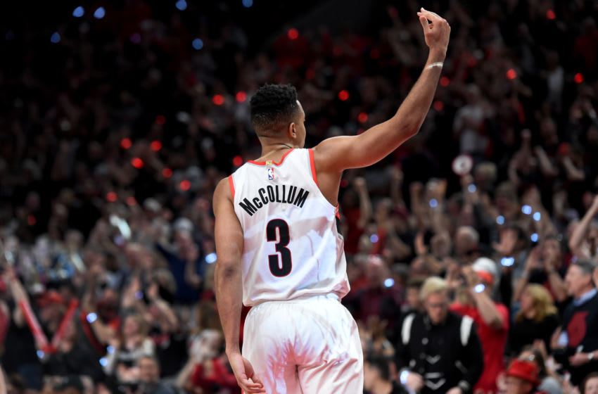PORTLAND, OREGON - MAY 03: CJ McCollum #3 of the Portland Trail Blazers reacts after hitting a shot during the second overtime of game three of the Western Conference Semifinals against the Denver Nuggetsat Moda Center on May 03, 2019 in Portland, Oregon. The Blazers won 140-137 in 4 overtimes. NOTE TO USER: User expressly acknowledges and agrees that, by downloading and or using this photograph, User is consenting to the terms and conditions of the Getty Images License Agreement. (Photo by Steve Dykes/Getty Images)