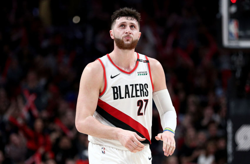 PORTLAND, OR - MARCH 25: Jusuf Nurkic #27 of the Portland Trail Blazers reacts in the fourth quarter against the Brooklyn Nets during their game at Moda Center on March 25, 2019 in Portland, Oregon. NOTE TO USER: User expressly acknowledges and agrees that, by downloading and or using this photograph, User is consenting to the terms and conditions of the Getty Images License Agreement. (Photo by Abbie Parr/Getty Images)