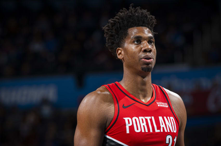 OKLAHOMA CITY, OK- OCTOBER 30: Hassan Whiteside #21 of the Portland Trail Blazers looks on during a game against the Oklahoma City Thunder on October 30, 2019 at Chesapeake Energy Arena in Oklahoma City, Oklahoma. NOTE TO USER: User expressly acknowledges and agrees that, by downloading and or using this photograph, User is consenting to the terms and conditions of the Getty Images License Agreement. Mandatory Copyright Notice: Copyright 2019 NBAE (Photo by Zach Beeker/NBAE via Getty Images)
