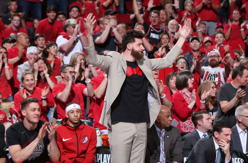 PORTLAND, OR - MAY 5: Jusuf Nurkic #27 of the Portland Trail Blazers reacts to plat during the game against the Denver Nuggets during Game Four of the Western Conference Semifinals of the 2019 NBA Playoffs on May 5, 2019 at the Moda Center Arena in Portland, Oregon. NOTE TO USER: User expressly acknowledges and agrees that, by downloading and or using this photograph, user is consenting to the terms and conditions of the Getty Images License Agreement. Mandatory Copyright Notice: Copyright 2019 NBAE (Photo by Sam Forencich/NBAE via Getty Images)