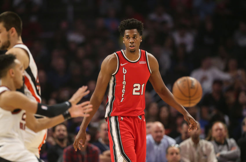 LOS ANGELES, CA - NOVEMBER 07:Portland Trail Blazers center Hassan Whiteside (21) during the Portland Trail Blazers game versus the Los Angeles Clippers game on November 7, 2019, at Staples Center in Los Angeles, CA. (Photo by Jevone Moore/Icon Sportswire via Getty Images)