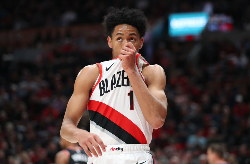PORTLAND, OREGON - NOVEMBER 13: Anfernee Simons #1 of the Portland Trail Blazers looks on in the second quarter against the Toronto Raptors at Moda Center on November 13, 2019 in Portland, Oregon. NOTE TO USER: User expressly acknowledges and agrees that, by downloading and or using this photograph, User is consenting to the terms and conditions of the Getty Images License Agreement (Photo by Abbie Parr/Getty Images) (Photo by Abbie Parr/Getty Images)