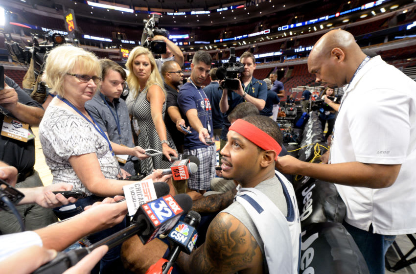 CHICAGO, IL - JULY 28: Carmelo Anthony #15 of the USA Basketball Men's National Team is interviewed during a practice for the USA Basketball Men's National Team July 28, 2016 at the United Center in Chicago, Illinois. NOTE TO USER: User expressly acknowledges and agrees that, by downloading and/or using this photograph, user is consenting to the terms and conditions of the Getty Images License Agreement. Mandatory Copyright Notice: Copyright 2016 NBAE (Photo by Randy Belice/NBAE via Getty Images)