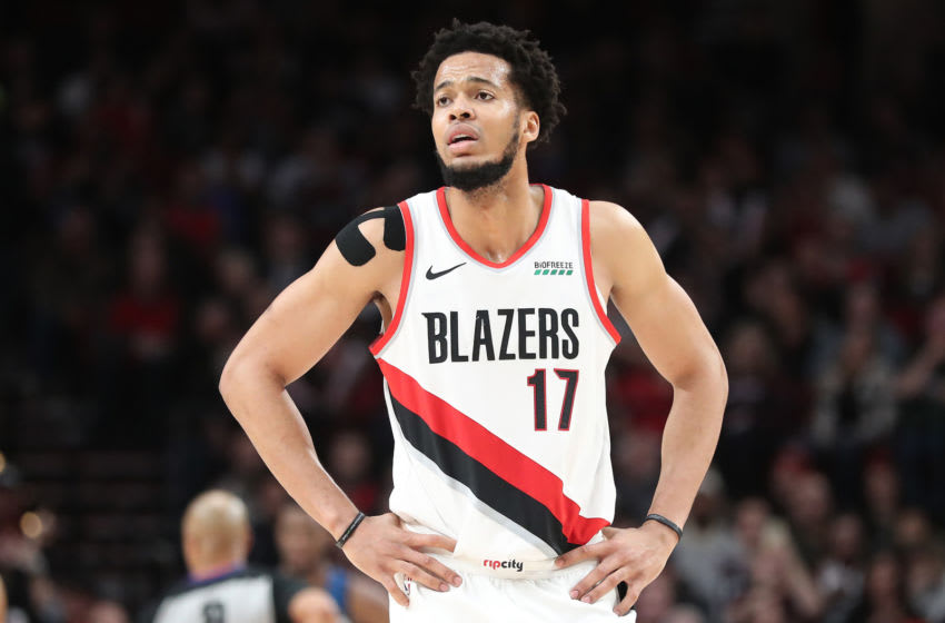 PORTLAND, OREGON - DECEMBER 21: Skal Labissiere #17 of the Portland Trail Blazers reacts in the fourth quarter against the Minnesota Timberwolves during their game at Moda Center on December 21, 2019 in Portland, Oregon. NOTE TO USER: User expressly acknowledges and agrees that, by downloading and or using this photograph, User is consenting to the terms and conditions of the Getty Images License Agreement (Photo by Abbie Parr/Getty Images) (Photo by Abbie Parr/Getty Images)