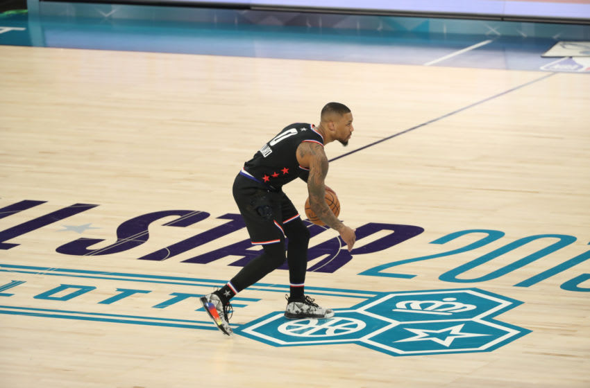 CHARLOTTE, NC - FEBRUARY 17: Damian Lillard #0 of Team Lebron dribbles up the court during the 2019 NBA All-Star Game on February 17, 2019 at the Spectrum Center in Charlotte, North Carolina. NOTE TO USER: User expressly acknowledges and agrees that, by downloading and/or using this photograph, user is consenting to the terms and conditions of the Getty Images License Agreement. Mandatory Copyright Notice: Copyright 2019 NBAE (Photo by Joe Murphy/NBAE via Getty Images)