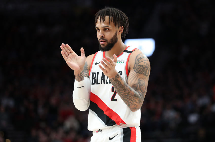 PORTLAND, OREGON - FEBRUARY 01: Gary Trent Jr. #2 of the Portland Trail Blazers reacts in the first quarter against the Utah Jazz during their game at Moda Center on February 01, 2020 in Portland, Oregon. NOTE TO USER: User expressly acknowledges and agrees that, by downloading and or using this photograph, User is consenting to the terms and conditions of the Getty Images License Agreement. (Photo by Abbie Parr/Getty Images)