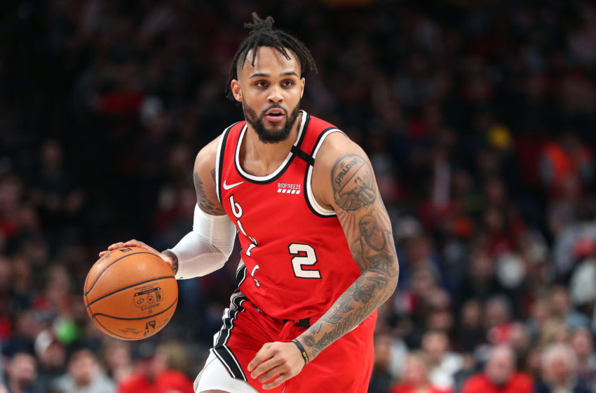 PORTLAND, OREGON - FEBRUARY 23: Gary Trent Jr. #2 of the Portland Trail Blazers dribbles with the ball in the second quarter against the Detroit Pistons during their game at Moda Center on February 23, 2020 in Portland, Oregon. NOTE TO USER: User expressly acknowledges and agrees that, by downloading and or using this photograph, User is consenting to the terms and conditions of the Getty Images License Agreement. (Photo by Abbie Parr/Getty Images)