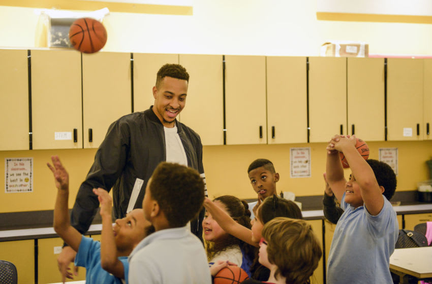 PORTLAND, OR - NOVEMBER 26: CJ McCollum teams with American Express to surprise Boys & Girls Clubs of Portland on November 26, 2018 in Portland, Oregon. (Photo by Anthony Pidgeon/Getty Images for American Express)