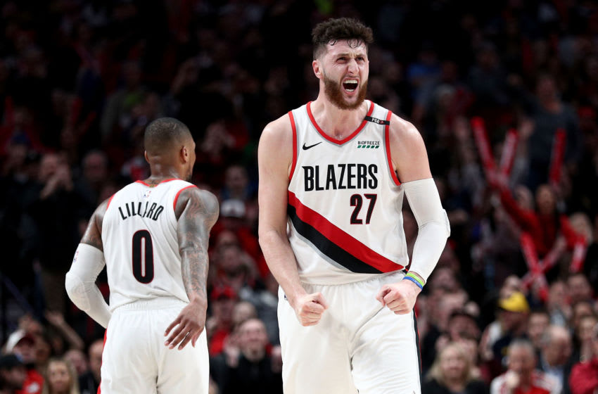 PORTLAND, OR - MARCH 25: (EDITORS NOTE: Alternative crop) Jusuf Nurkic #27 of the Portland Trail Blazers celebrates in the fourth quarter against the Brooklyn Nets during their game at Moda Center on March 25, 2019 in Portland, Oregon. NOTE TO USER: User expressly acknowledges and agrees that, by downloading and or using this photograph, User is consenting to the terms and conditions of the Getty Images License Agreement. (Photo by Abbie Parr/Getty Images)
