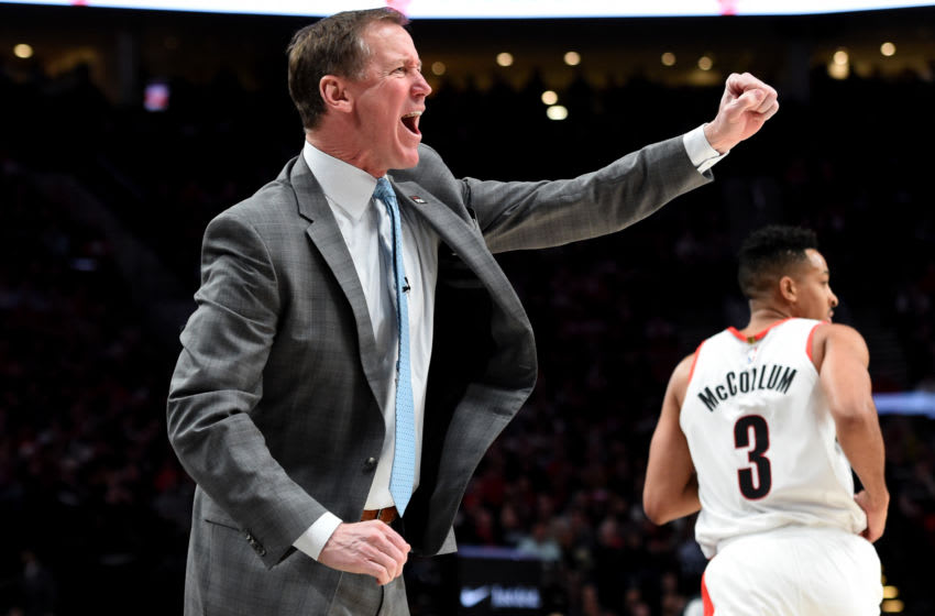 PORTLAND, OREGON - MAY 03: Terry Stotts of the Portland Trail Blazers reacts to an officials call during the second half of game three of the Western Conference Semifinals at Moda Center on May 03, 2019 in Portland, Oregon. The Blazers won 140-137 in 4 overtimes. NOTE TO USER: User expressly acknowledges and agrees that, by downloading and or using this photograph, User is consenting to the terms and conditions of the Getty Images License Agreement. (Photo by Steve Dykes/Getty Images)