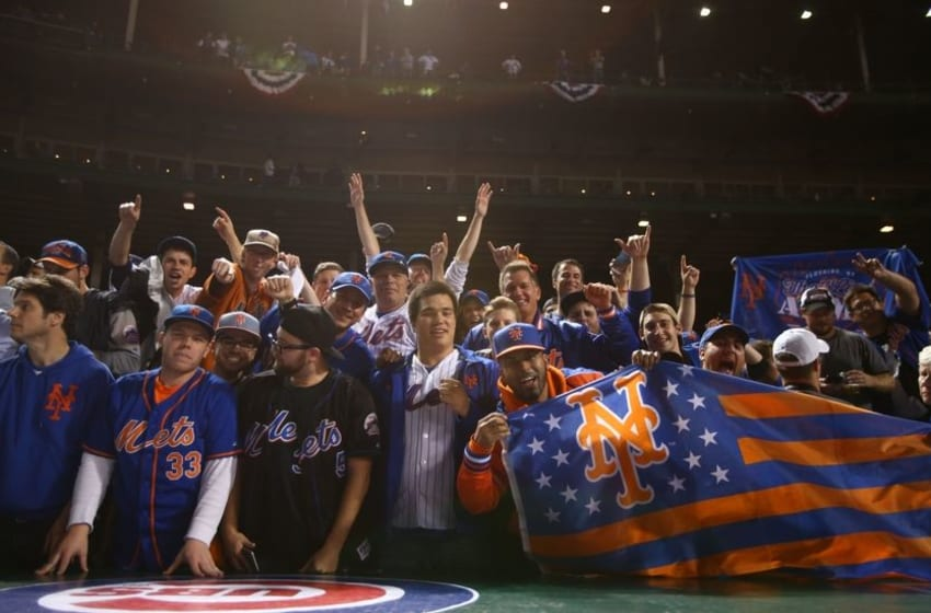 Oct 21, 2015; Chicago, IL, USA; New York Mets fans after game four of the NLCS between the New York Mets and the Chicago Cubs at Wrigley Field. Mandatory Credit: Caylor Arnold-USA TODAY Sports