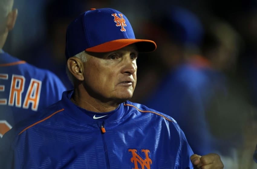 May 19, 2016; New York City, NY, USA; New York Mets manager Terry Collins (10) in the dugout during game against Washington Nationals at Citi Field. Mandatory Credit: Noah K. Murray-USA TODAY Sports
