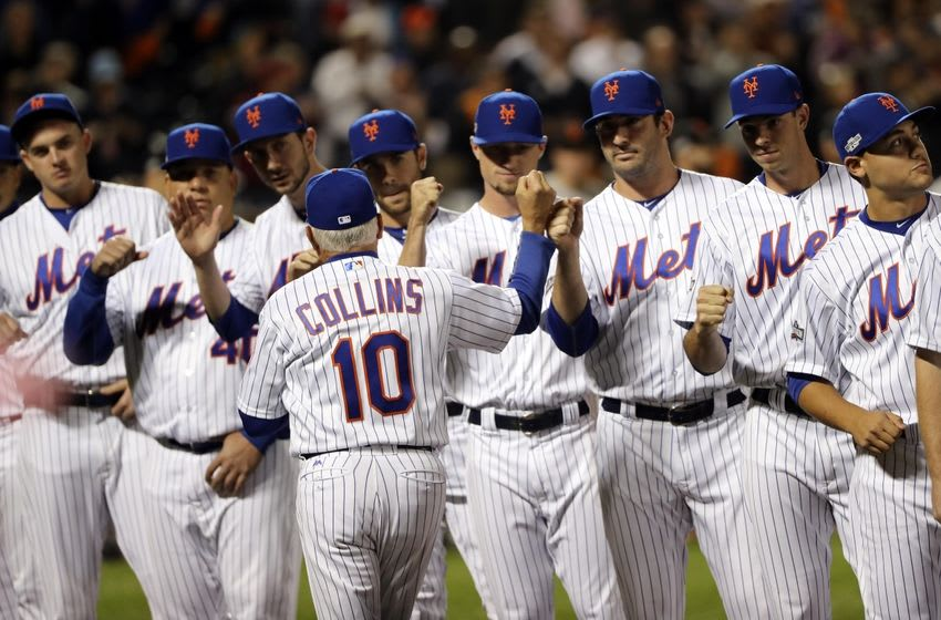 Oct 5, 2016; New York City, NY, USA; New York Mets manager Terry Collins (10) is introduced before the game against the San Francisco Giants in the National League wild card playoff baseball game at Citi Field. Mandatory Credit: Anthony Gruppuso-USA TODAY Sports