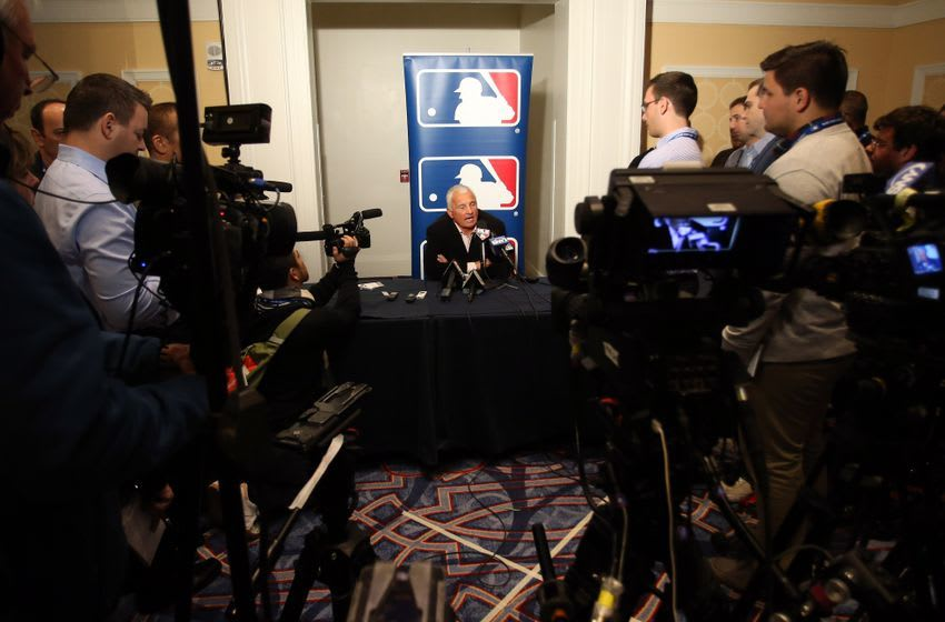 Dec 6, 2016; National Harbor, MD, USA; New York Mets manager Terry Collins speaks with the media during day two of the 2016 Baseball Winter Meetings at Gaylord National Resort & Convention Center. Mandatory Credit: Geoff Burke-USA TODAY Sports
