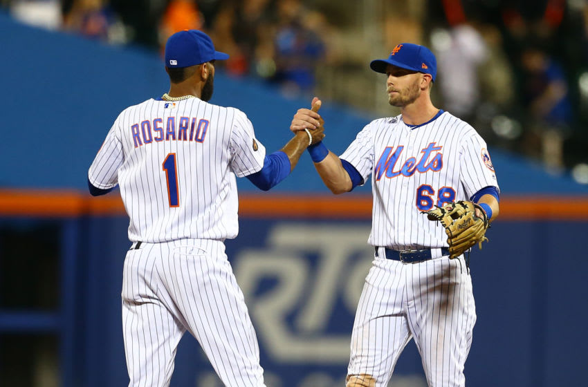 NEW YORK, NY - AUGUST 04: Amed Rosario #1 and Jeff McNeil #68 of the New York Mets celebrate after defeating the Atlanta Braves 3-0 at Citi Field on August 4, 2018 in the Flushing neighborhood of the Queens borough of New York City. (Photo by Mike Stobe/Getty Images)