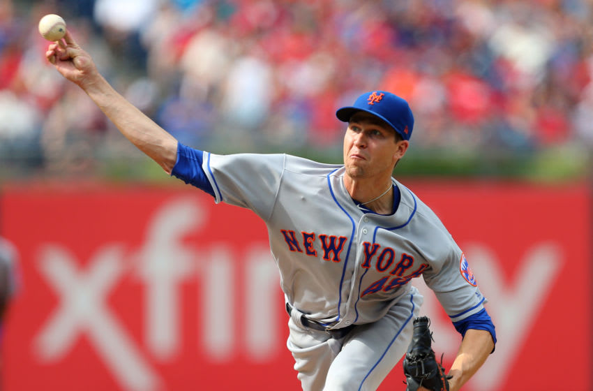 PHILADELPHIA, PA - AUGUST 18: Jacob deGrom #48 of the New York Mets delivers a pitch against the Philadelphia Phillies during the first inning of a game at Citizens Bank Park on August 18, 2018 in Philadelphia, Pennsylvania. (Photo by Rich Schultz/Getty Images)