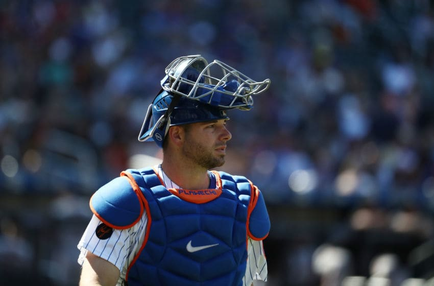 NEW YORK, NY - AUGUST 23: Kevin Plawecki #26 of the New York Mets looks on against the San Francisco Giants during their game at Citi Field on August 23, 2018 in New York City. (Photo by Al Bello/Getty Images)