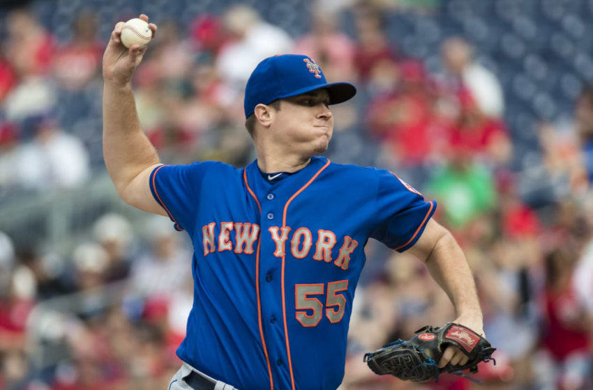 WASHINGTON, DC - SEPTEMBER 22: Corey Oswalt #55 of the New York Mets pitches against the Washington Nationals during the first inning at Nationals Park on September 22, 2018 in Washington, DC. (Photo by Scott Taetsch/Getty Images)