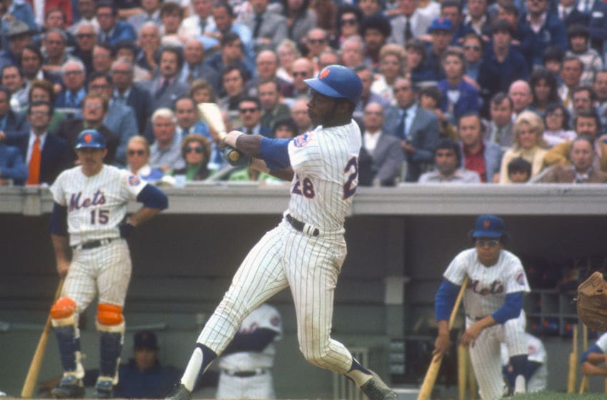 NEW YORK - CIRCA 1971: John Milner #28 of the New York Mets bats against the Cincinnati Reds during an Major League Baseball game circa 1971 at Shea Stadium in the Queens borough of New York City. Milner played for the Mets from 1971-77. (Photo by Focus on Sport/Getty Images)