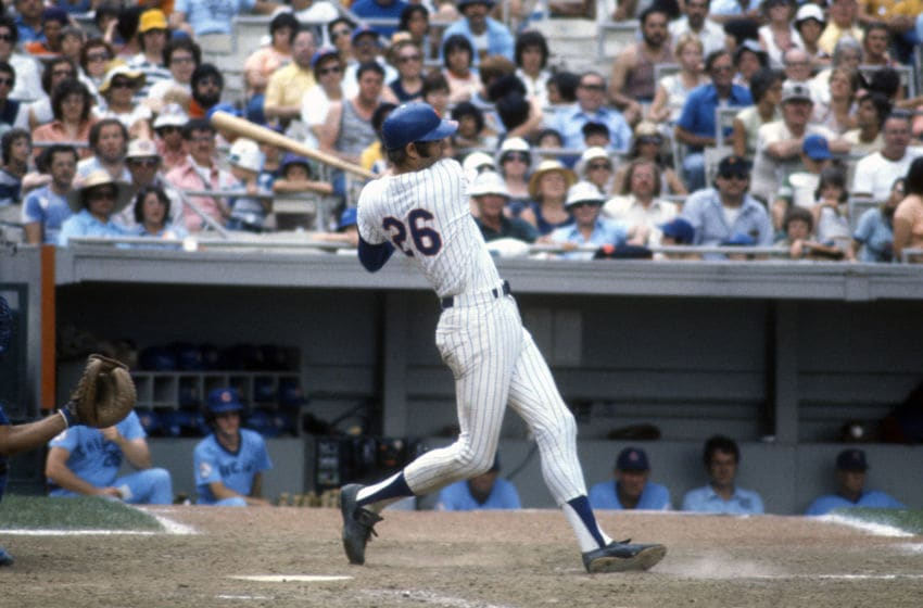 NEW YORK - CIRCA 1981: Dave Kingman #26 of the New York Mets bats against the Chicago Cubs during an Major League Baseball game circa 1981 at Shea Stadium in the Queens borough of New York City. Kingman played for the Mets from 1975-77 and 1981-83. (Photo by Focus on Sport/Getty Images)