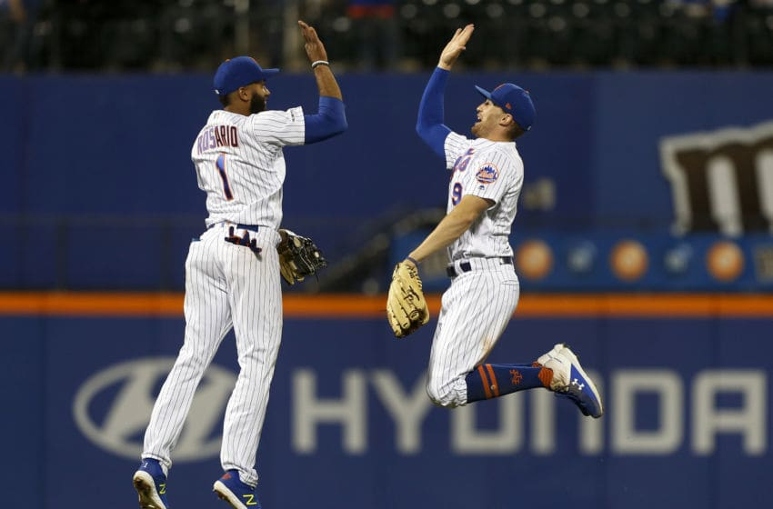 NEW YORK, NEW YORK - MAY 10: Amed Rosario #1 and Brandon Nimmo #9 of the New York Mets celebrate after defeating the Miami Marlins at Citi Field on May 10, 2019 in the Flushing neighborhood of the Queens borough of New York City. (Photo by Jim McIsaac/Getty Images)