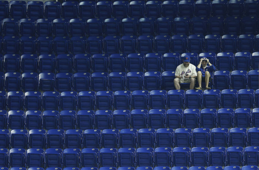 MIAMI, FLORIDA - APRIL 02: Fans watch the game between the Miami Marlins and the New York Mets at Marlins Park on April 02, 2019 in Miami, Florida. (Photo by Michael Reaves/Getty Images)