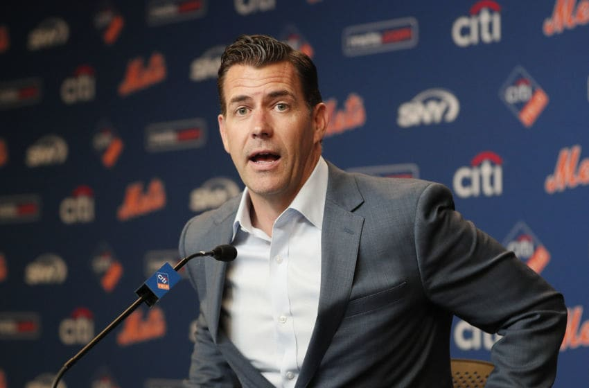 NEW YORK, NY - MAY 20: Brodie Van Wagenen, General Manager of the New York Mets, talks to the media during his press conference showing support for manager Mickey Callaway this afternoon before an MLB baseball game against the Washington Nationals on May 20, 2019 at Citi Field in the Queens borough of New York City. Mets won 5-3. (Photo by Paul Bereswill/Getty Images)