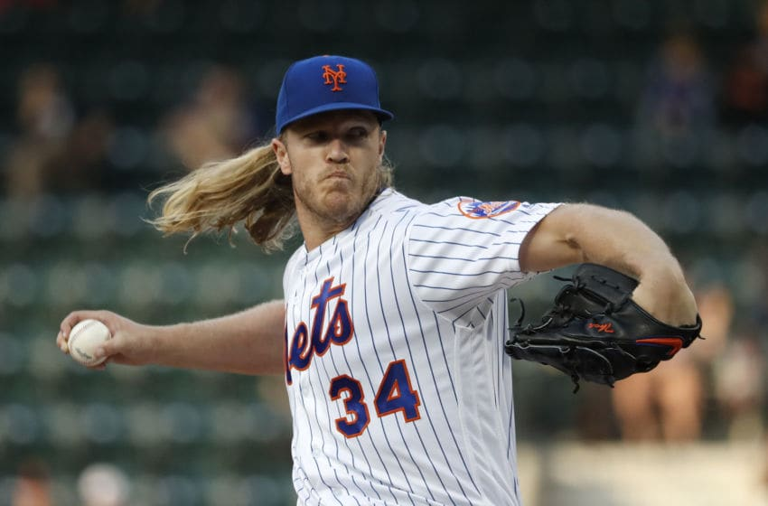 NEW YORK, NEW YORK - JUNE 04: Noah Syndergaard #34 of the New York Mets pitches against the San Francisco Giants during the first inning at Citi Field on June 04, 2019 in New York City. (Photo by Michael Owens/Getty Images)