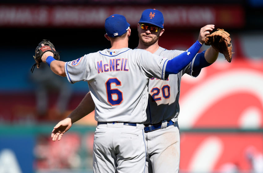 WASHINGTON, DC - SEPTEMBER 02: Jeff McNeil #6 and Pete Alonso #20 of the New York Mets celebrate a 7-3 victory against the Washington Nationals at Nationals Park on September 2, 2019 in Washington, DC. (Photo by Greg Fiume/Getty Images)