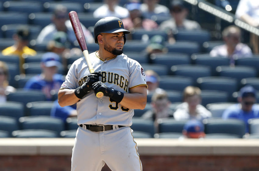 NEW YORK, NEW YORK - JULY 28: Melky Cabrera #53 of the Pittsburgh Pirates in action against the New York Mets at Citi Field on July 28, 2019 in New York City. The Mets defeated the Pirates 8-7. (Photo by Jim McIsaac/Getty Images)