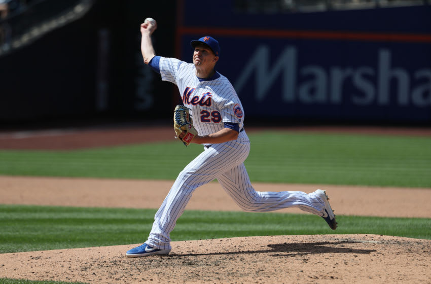 NEW YORK, NEW YORK - AUGUST 11: Brad Brach #29 of the New York Mets pitches against the Washington Nationals during their game at Citi Field on August 11, 2019 in New York City. (Photo by Al Bello/Getty Images)