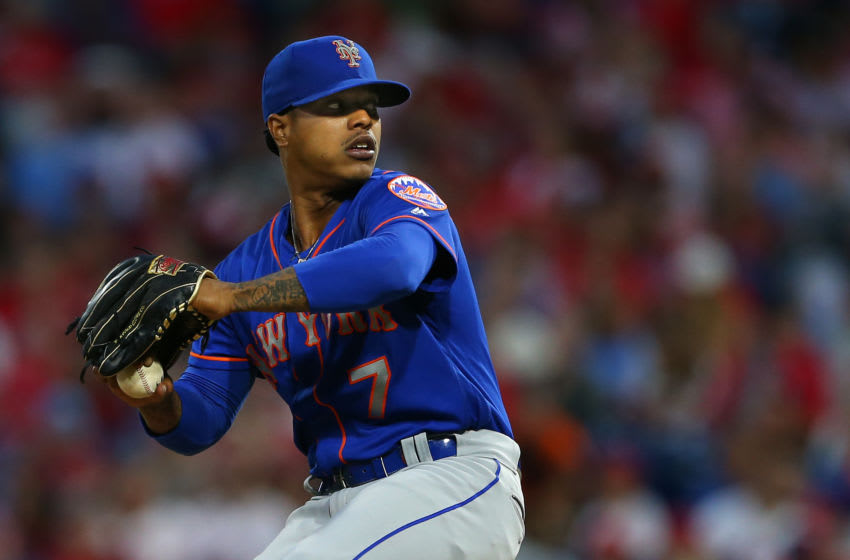 PHILADELPHIA, PA - SEPTEMBER 01: Marcus Stroman #7 of the New York Mets in action against the Philadelphia Phillies during a game at Citizens Bank Park on September 1, 2019 in Philadelphia, Pennsylvania. (Photo by Rich Schultz/Getty Images)