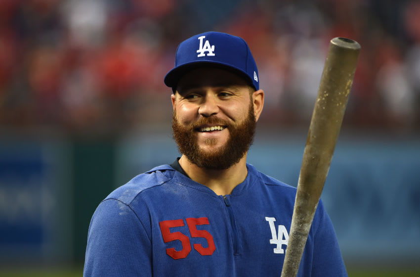 WASHINGTON, DC - OCTOBER 06: Russell Martin #55 of the Los Angeles Dodgers looks on during batting practice prior to game three of the National League Division Series against the Washington Nationals at Nationals Park on October 06, 2019 in Washington, DC. (Photo by Will Newton/Getty Images)