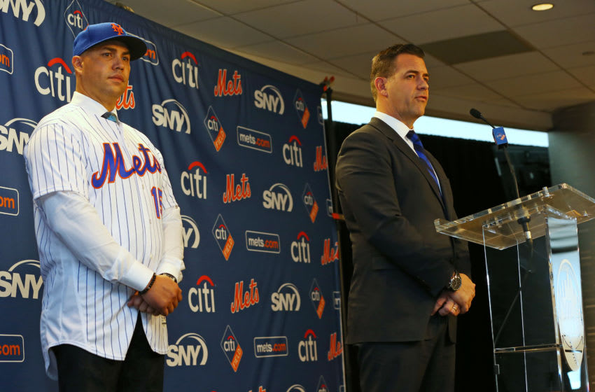 NEW YORK, NY - NOVEMBER 04: Carlos Beltran, left, is introduced by General Manager Brodie Van Wagenen during a press conference at Citi Field on November 4, 2019 in New York City. (Photo by Rich Schultz/Getty Images)