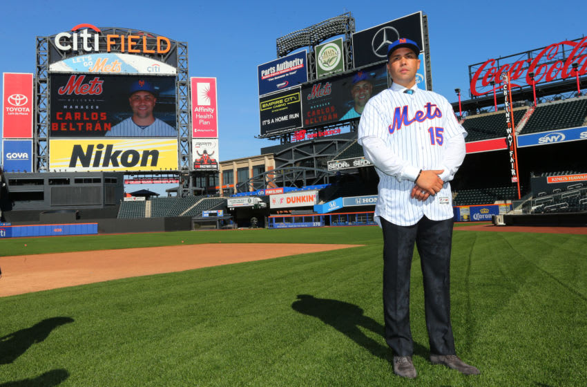 NEW YORK, NY - NOVEMBER 04: Carlos Beltran poses for pictures after being introduced as the next manager of the New York Mets during a press conference at Citi Field on November 4, 2019 in New York City. (Photo by Rich Schultz/Getty Images)
