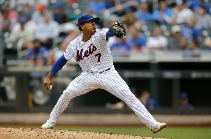 NEW YORK, NEW YORK - SEPTEMBER 12: Marcus Stroman #7 of the New York Mets in action against the Arizona Diamondbacks at Citi Field on September 12, 2019 in New York City. The Mets defeated the Diamondbacks 11-1. (Photo by Jim McIsaac/Getty Images)