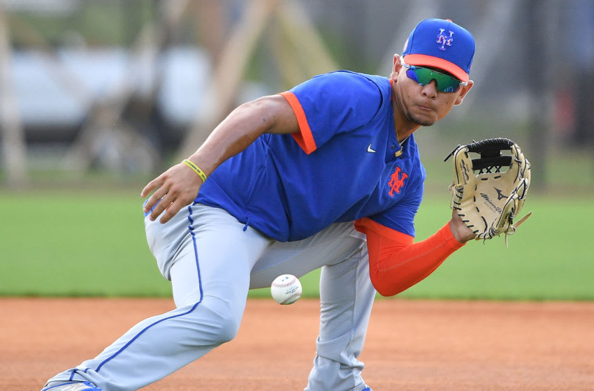 PORT ST. LUCIE, FLORIDA - FEBRUARY 20: Andres Gimenez #60 of the New York Mets in action during the team workout at Clover Park on February 20, 2020 in Port St. Lucie, Florida. (Photo by Mark Brown/Getty Images)