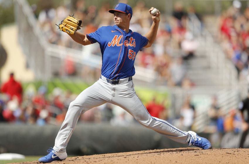 JUPITER, FLORIDA - FEBRUARY 22: Stephen Gonsalves #59 of the New York Mets delivers a pitch against the St. Louis Cardinals in the sixth inning during a spring training game at Roger Dean Stadium on February 22, 2020 in Jupiter, Florida. (Photo by Michael Reaves/Getty Images)